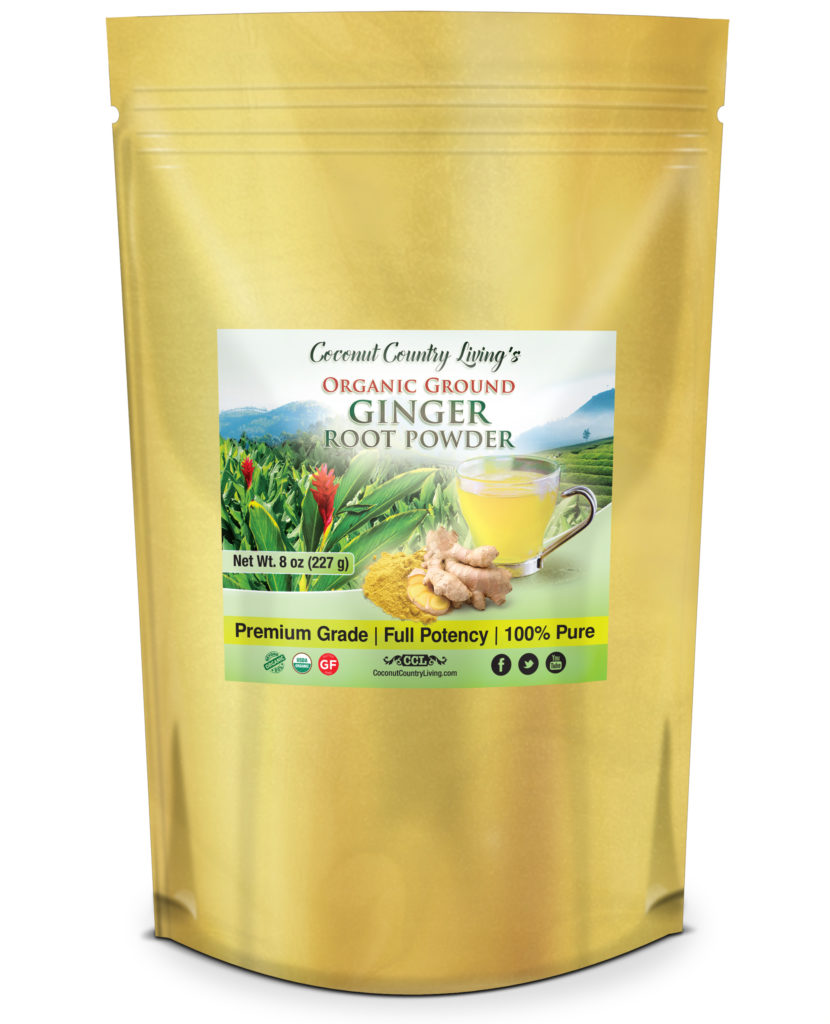 CCL's premium origanic ginger root powder, specially packaged in gold foil for freshness