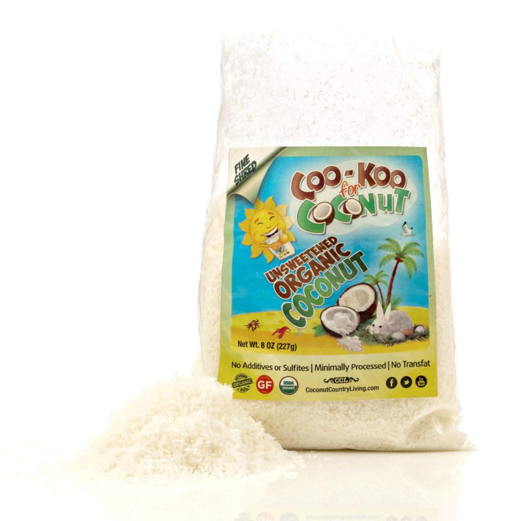 CFCb1012 Organic Fine Shredded Coconut 4 packs of 8 oz