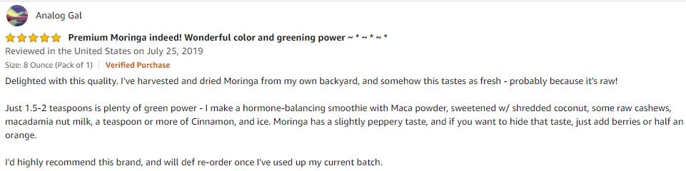 fresh moringa leaf powder review